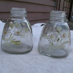 Vintage hand painted Daisy Jars empty